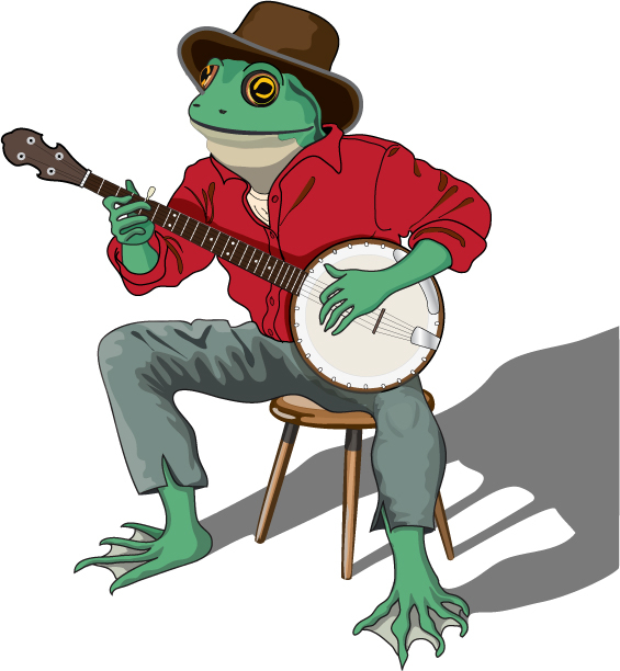 Frog Playing Banjo Logo